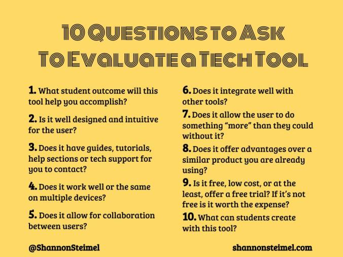 Questions to Evaluate tech