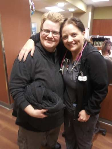 My wife and one of her nurses on our Ja.n 2020 visit.